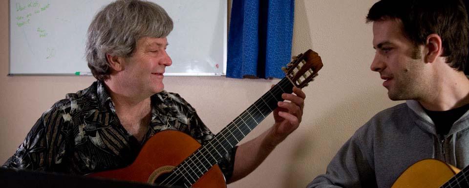 Rick teaching guitar